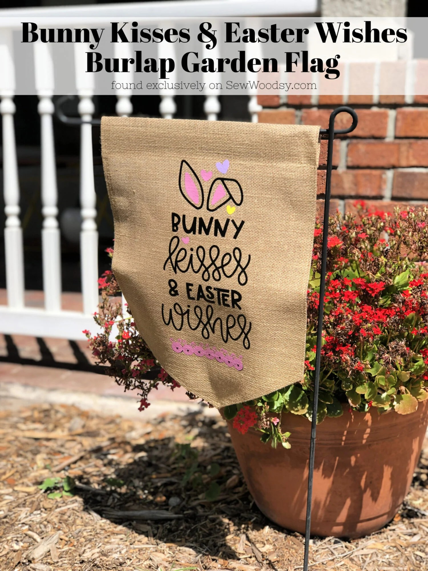 Bunny Kisses & Easter Wishes Burlap Garden Flag