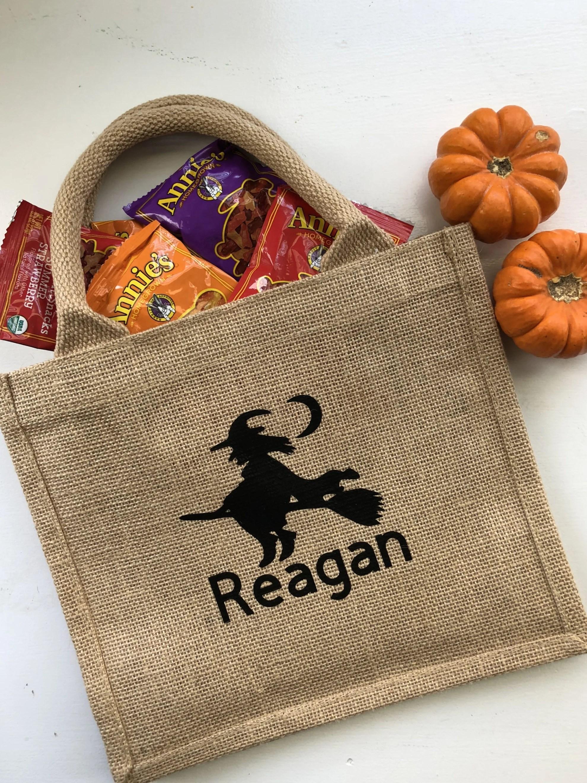 Burlap Trick or Treat Bag with Name