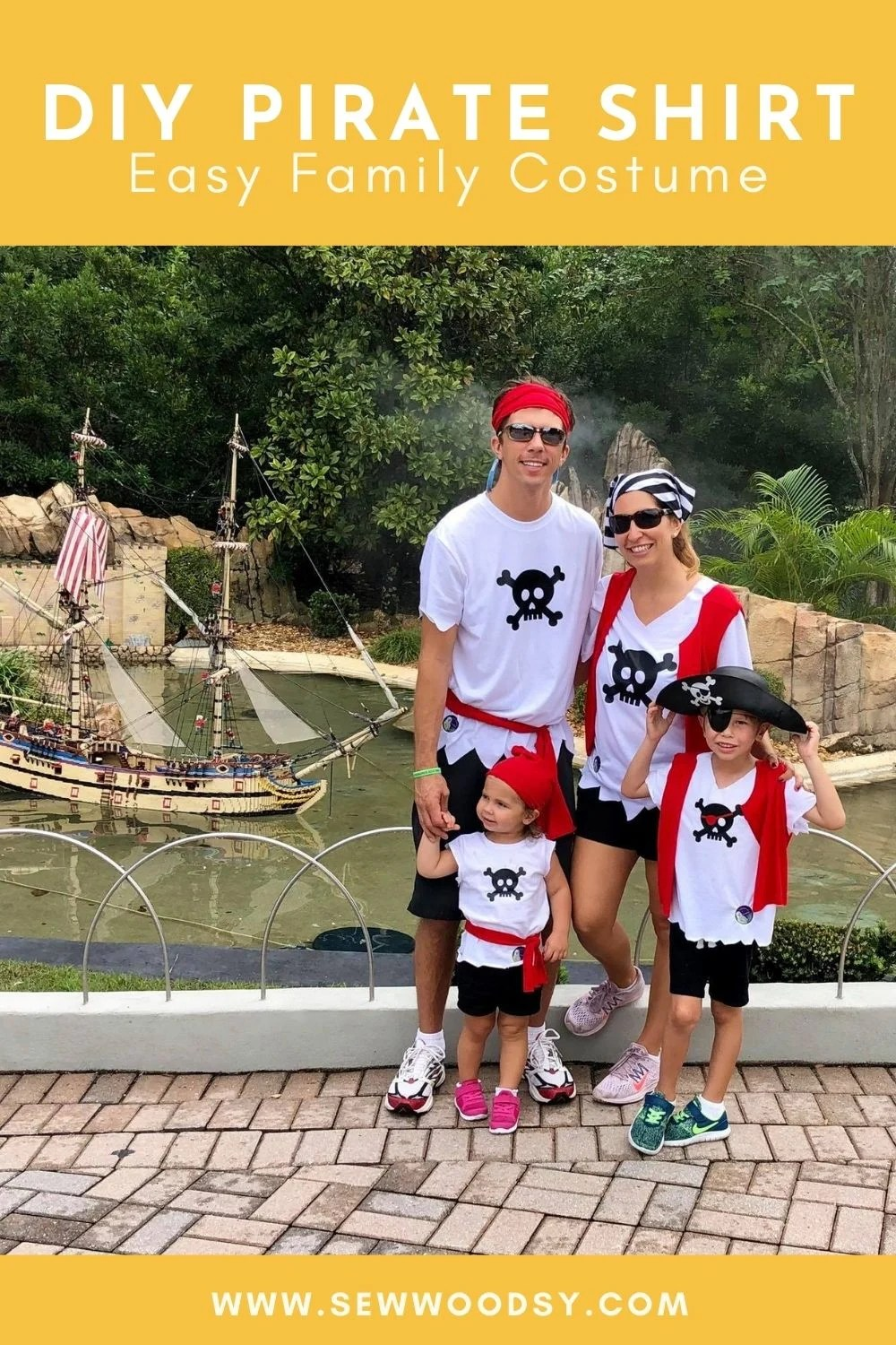Family of four dressed in DIY Pirate Shirt costumes with text on image for Pinterest.