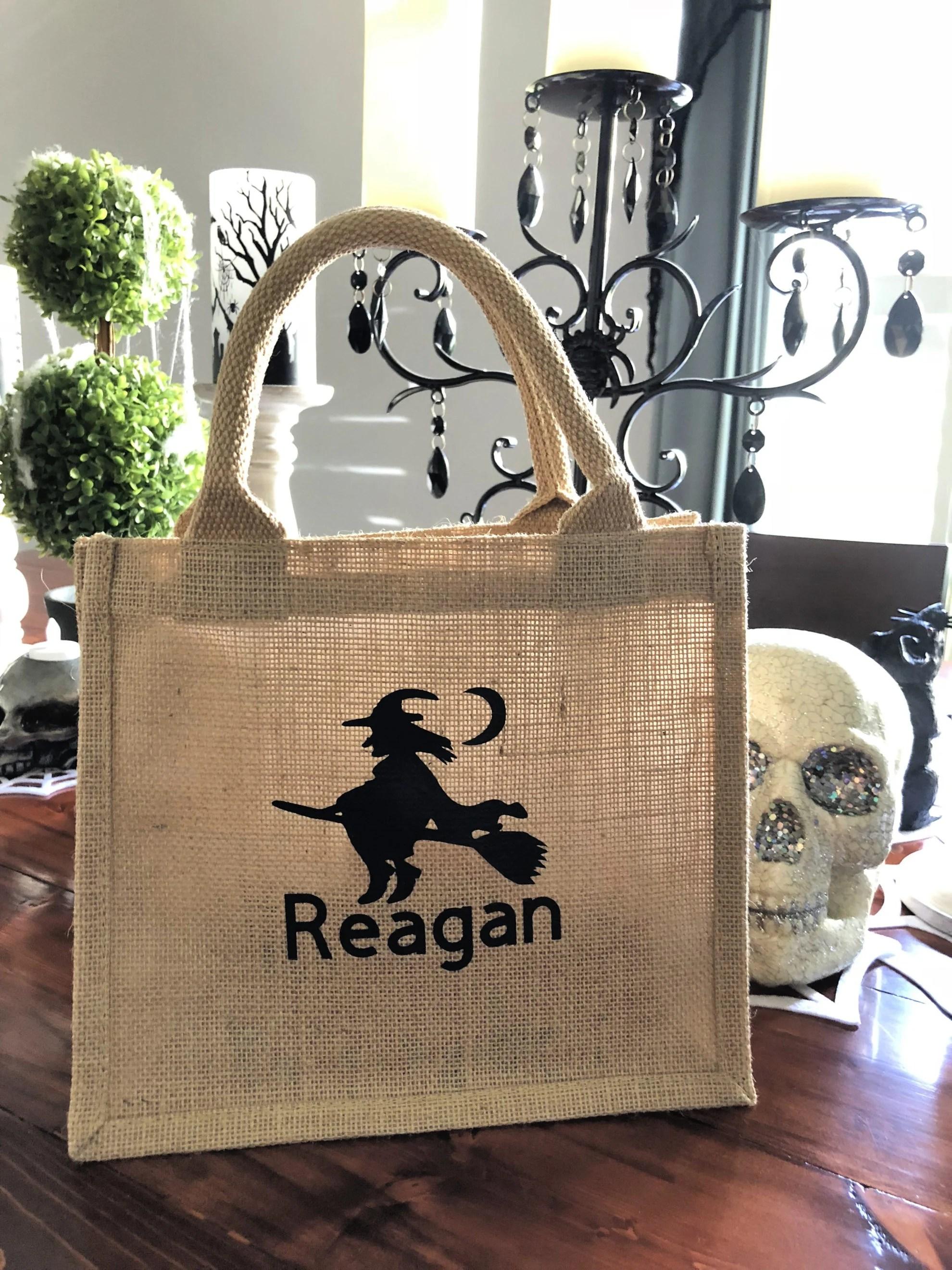 Halloween Personalized Burlap Trick or Treat Bag