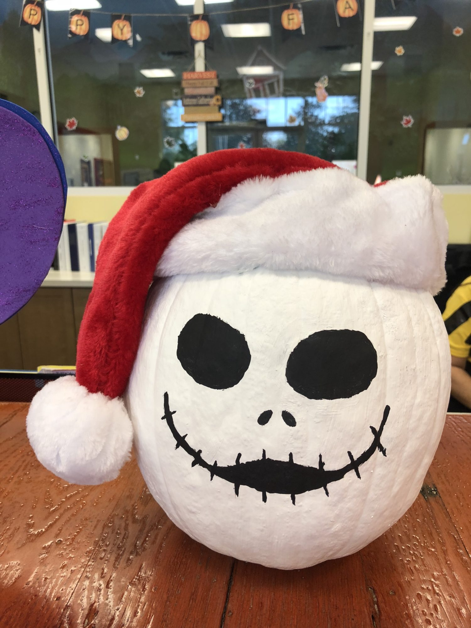 Jack Skellington Christmas Hat No Carve Pumpkin