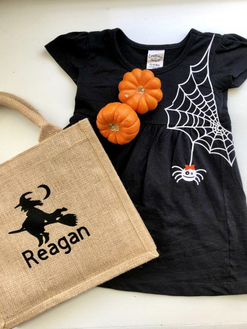 Personalized Burlap Trick or Treat Bag with Spider Girls Dress