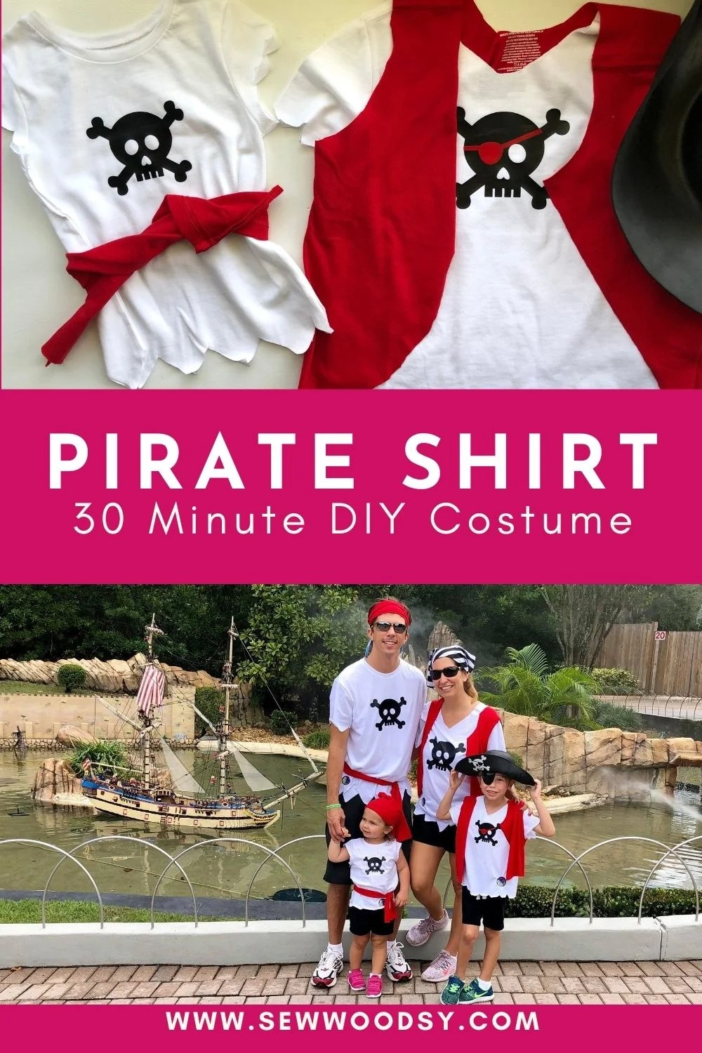 Two photos of pirate shirt costumes divided by text for Pinterest.