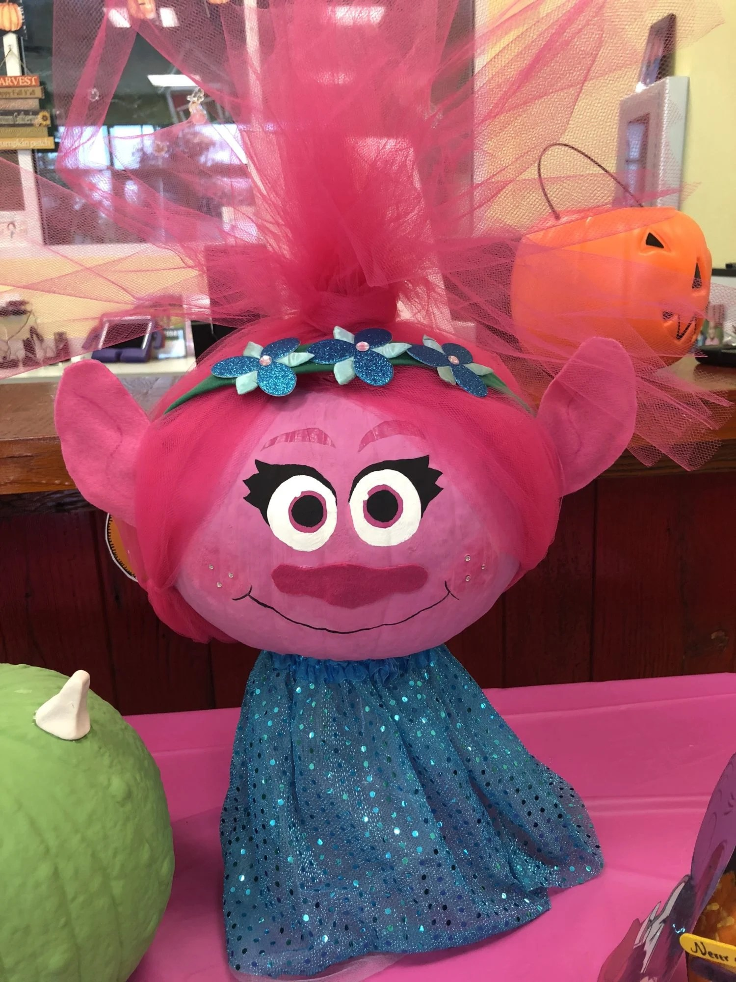 Poppy from Trolls No Carve Pumpkin