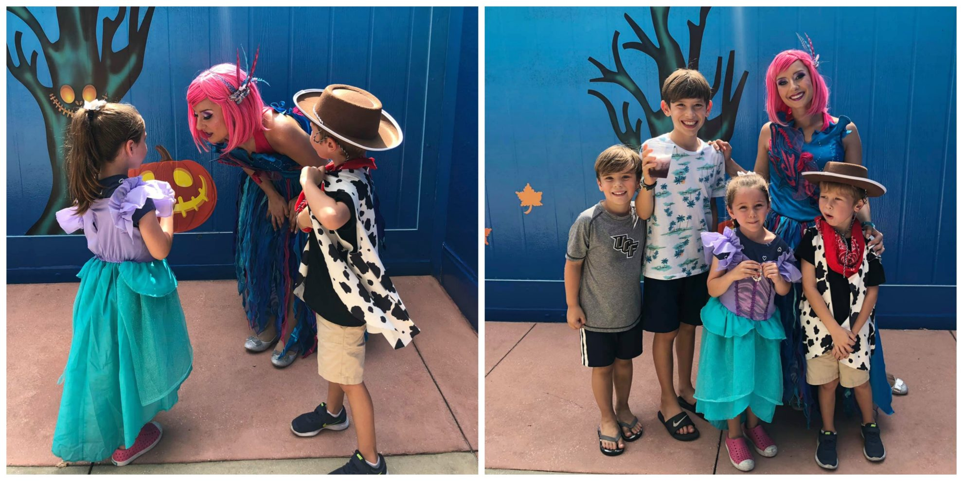 Two photo split of kids with a Sea Life Character from SeaWorld Orlando Spooktacular.