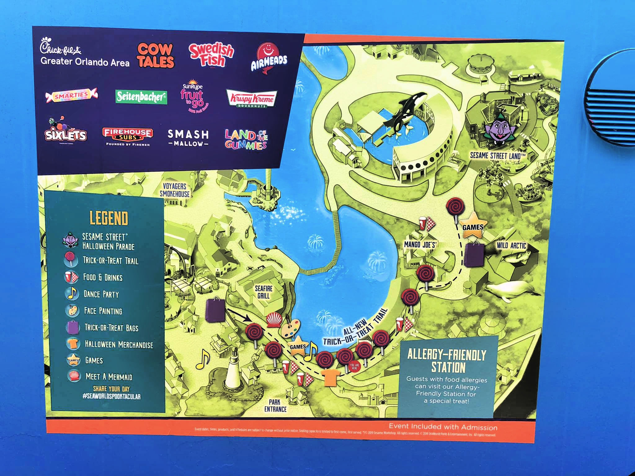 Candy trail map of SeaWorld Orlando Spooktacular event.