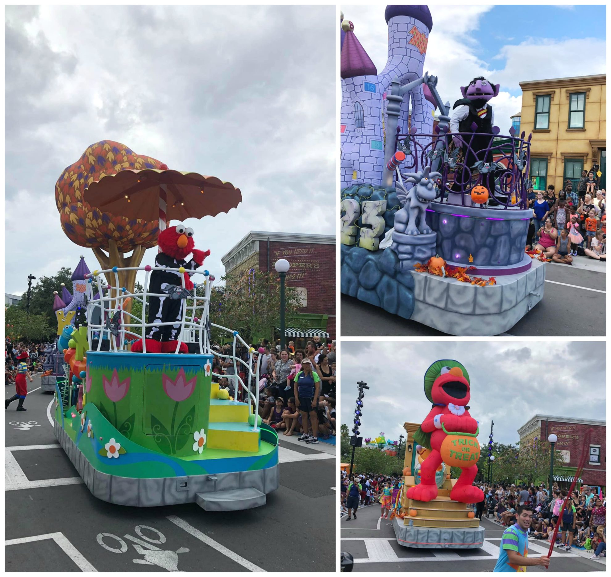 Three photo split of parade floats at the Sesame Street Halloween Parade.