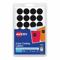 Avery 05459 Round Color-Coding Labels, 3/4 dia, Black (Pack of 1008)