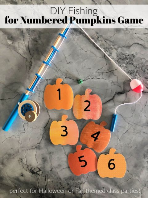 DIY Fishing For Numbered Pumpkins Game - great for school Halloween or Fall parties!
