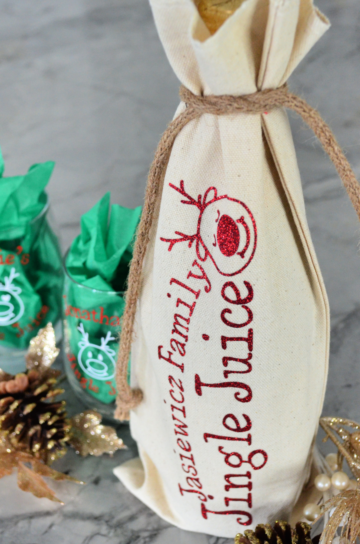 DIY Personalized Jingle Juice Christmas Wine Bag & Glasses