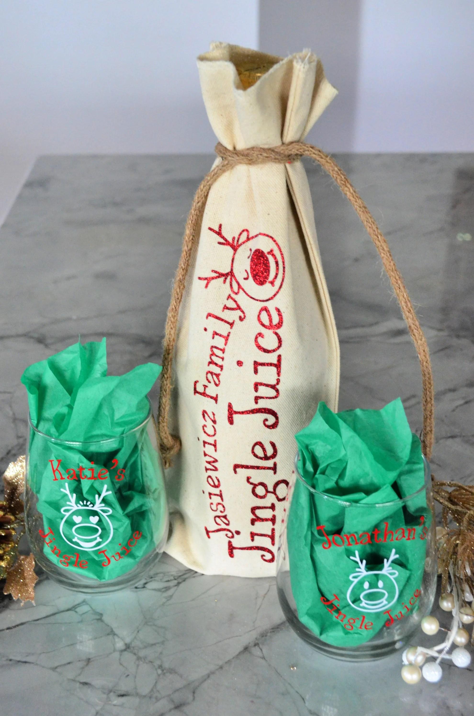 DIY Personalized Jingle Juice Holiday Gift Wine Bag & Glasses