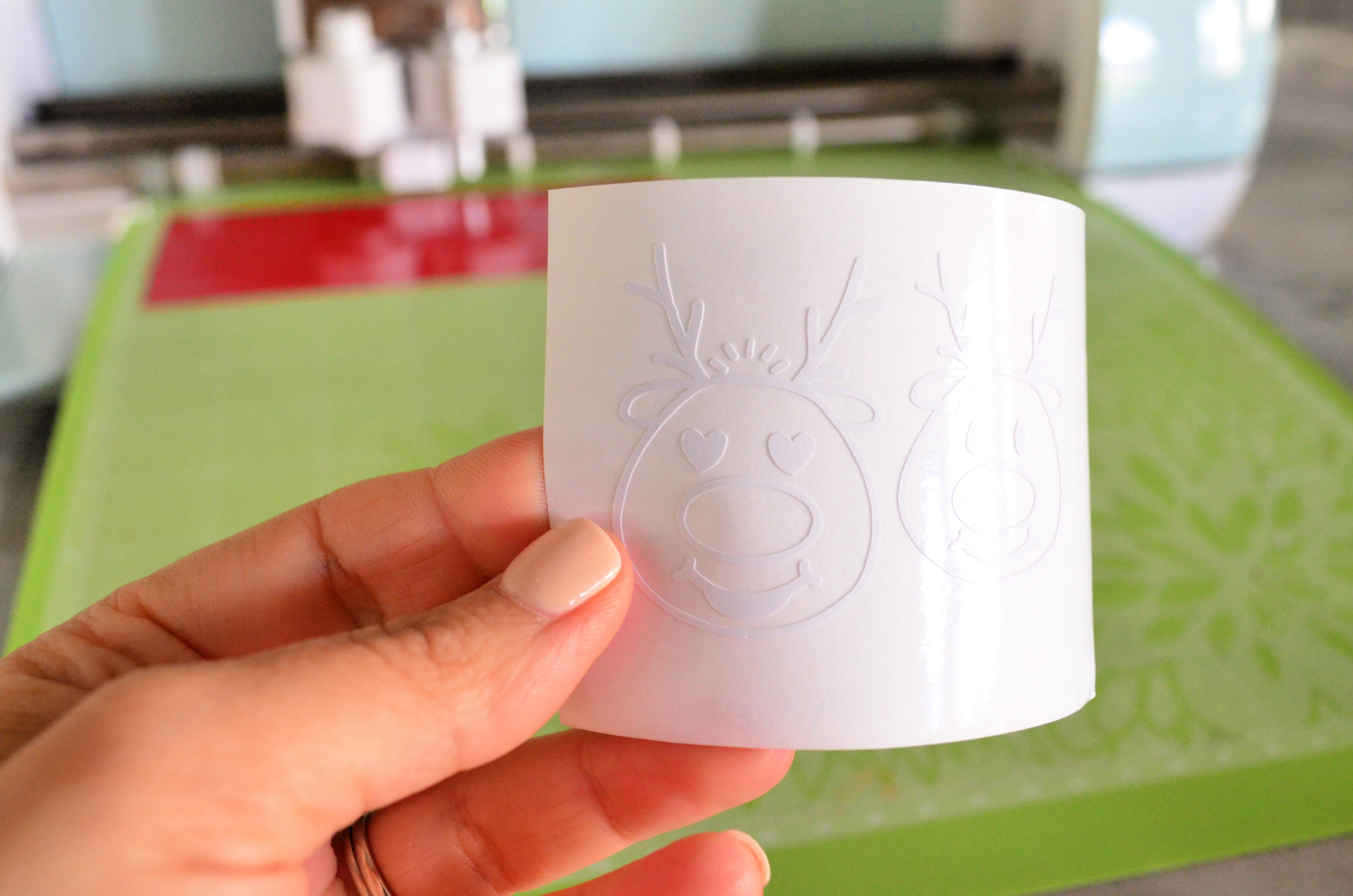 DIY Personalized Jingle Juice Wine Glasses Reindeer Cut out