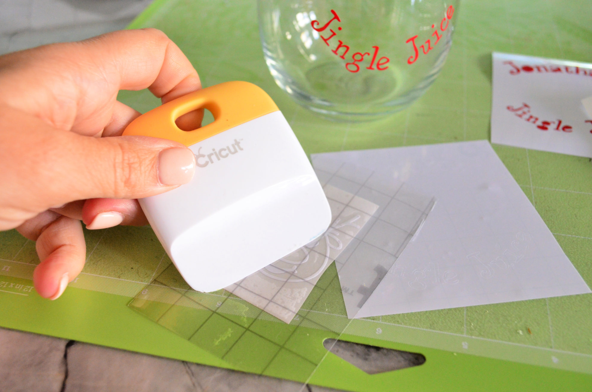 DIY Personalized Jingle Juice Wine Glasses Squeege Vinyl