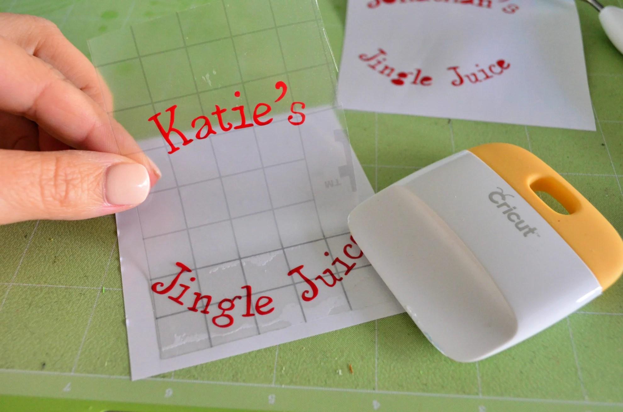 DIY Personalized Jingle Juice Wine Glasses Transfer Tape for Vinyl