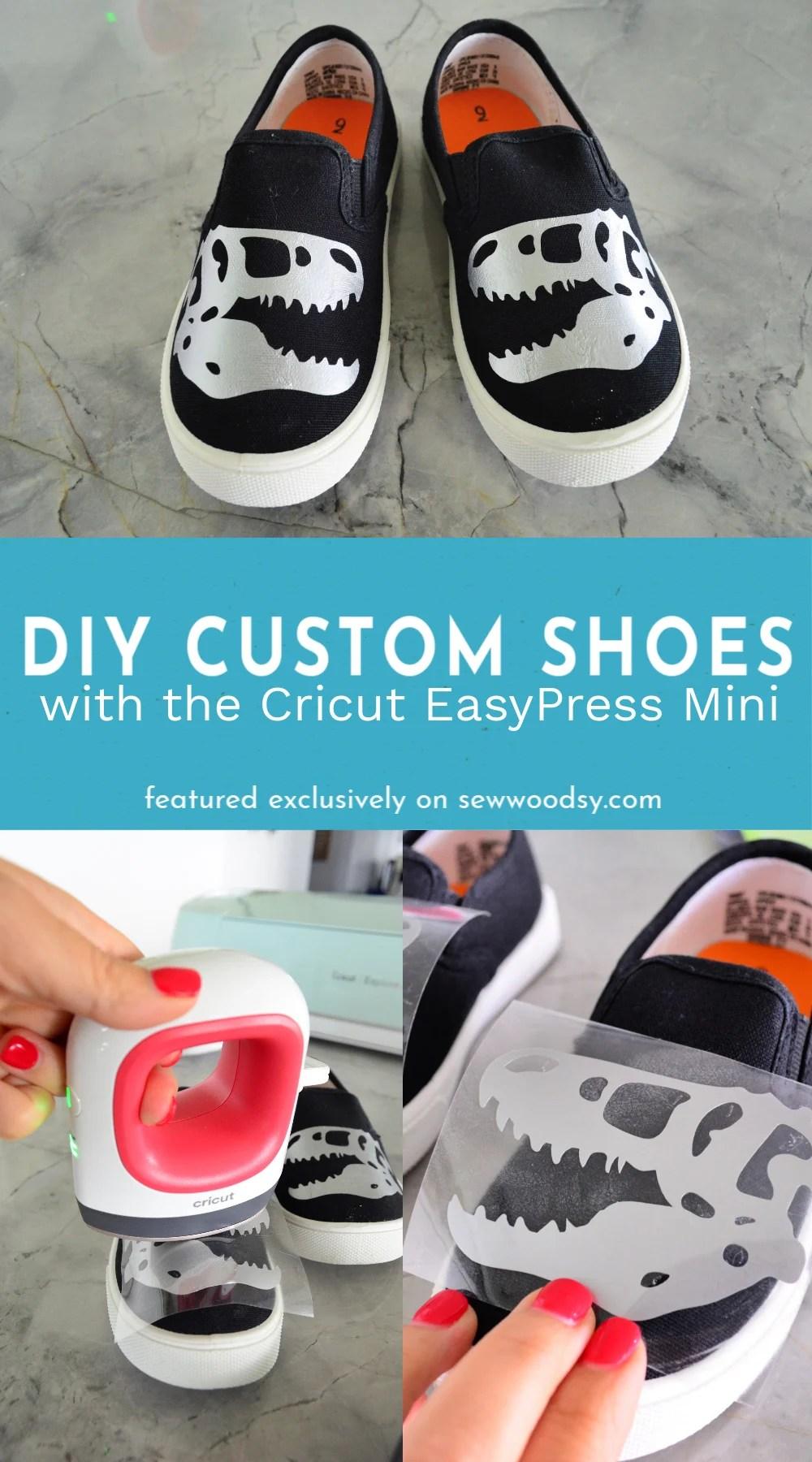 Three photos of how to use the Cricut EasyPress Mini to make custom shoes.