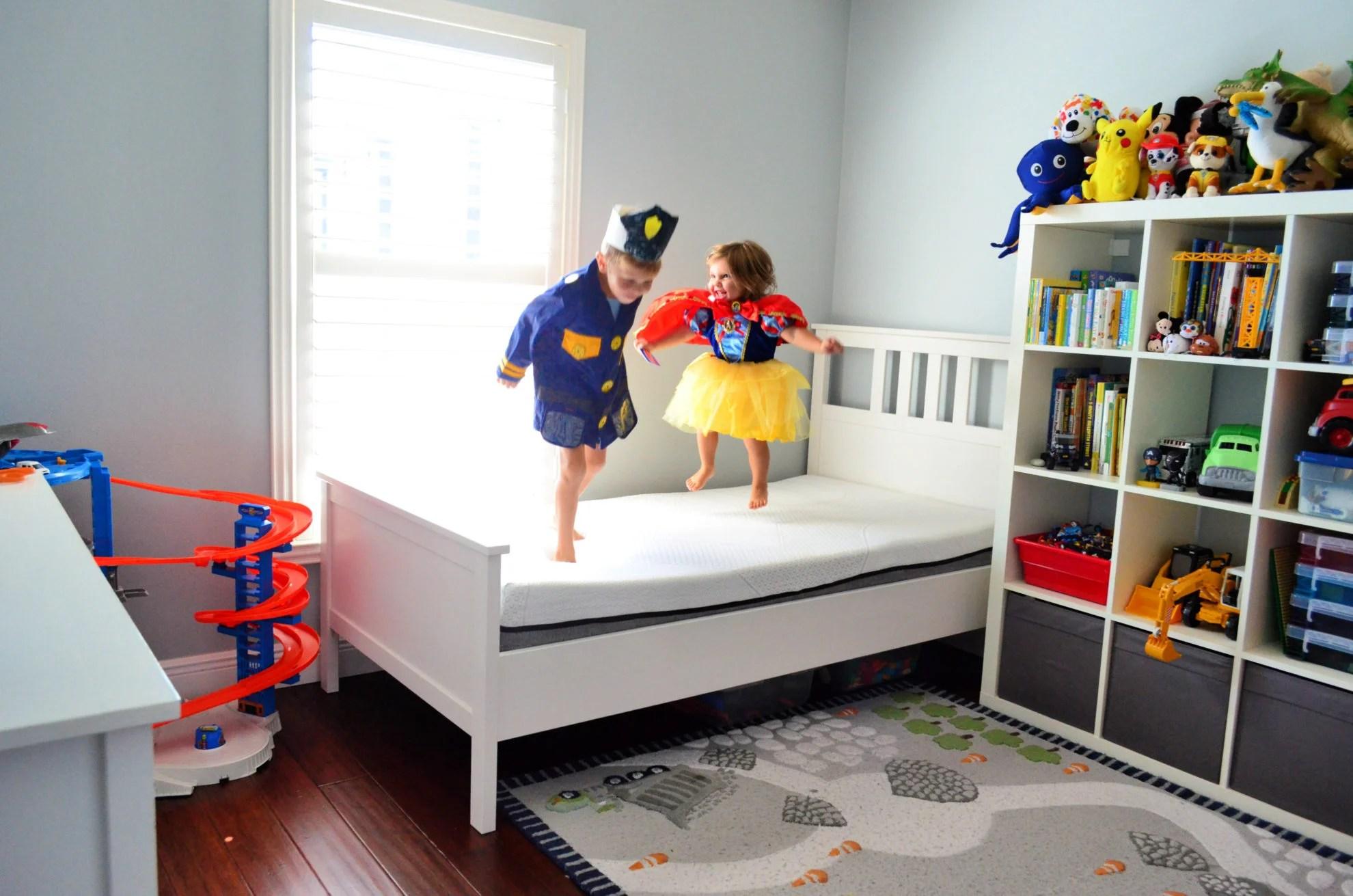 Kids jumping on a Yogabed Mattress
