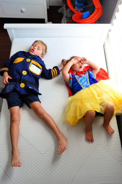 Kids Pretend sleeping on a Yogabed Mattress