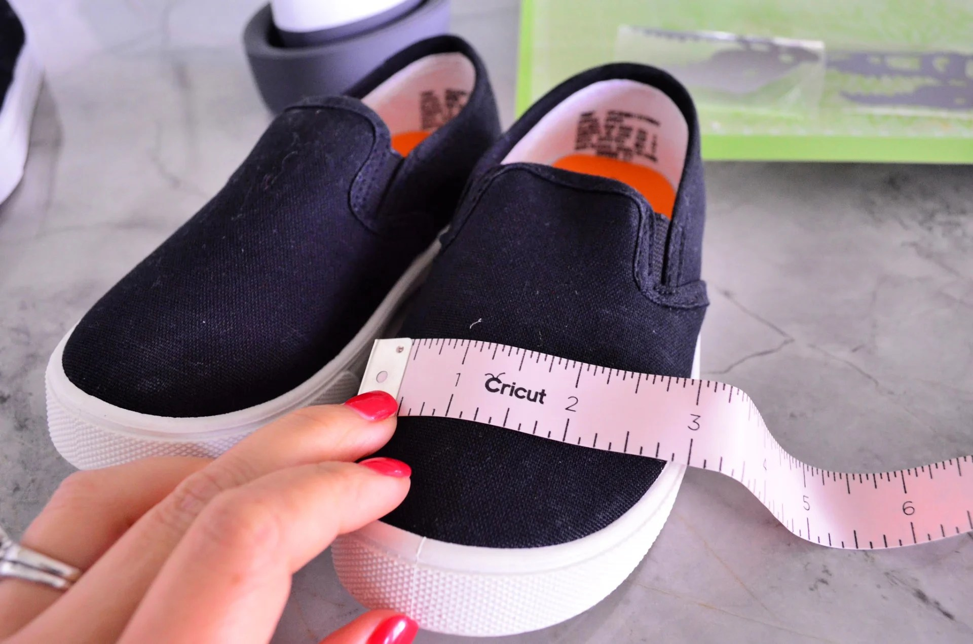 Measure shoes before customizing with Iron-On Vinyl