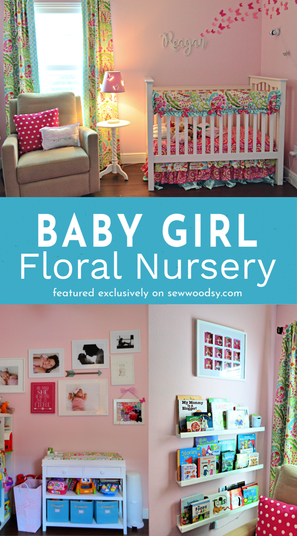 Two photos of a girls nursery with text on image for Pinterest.