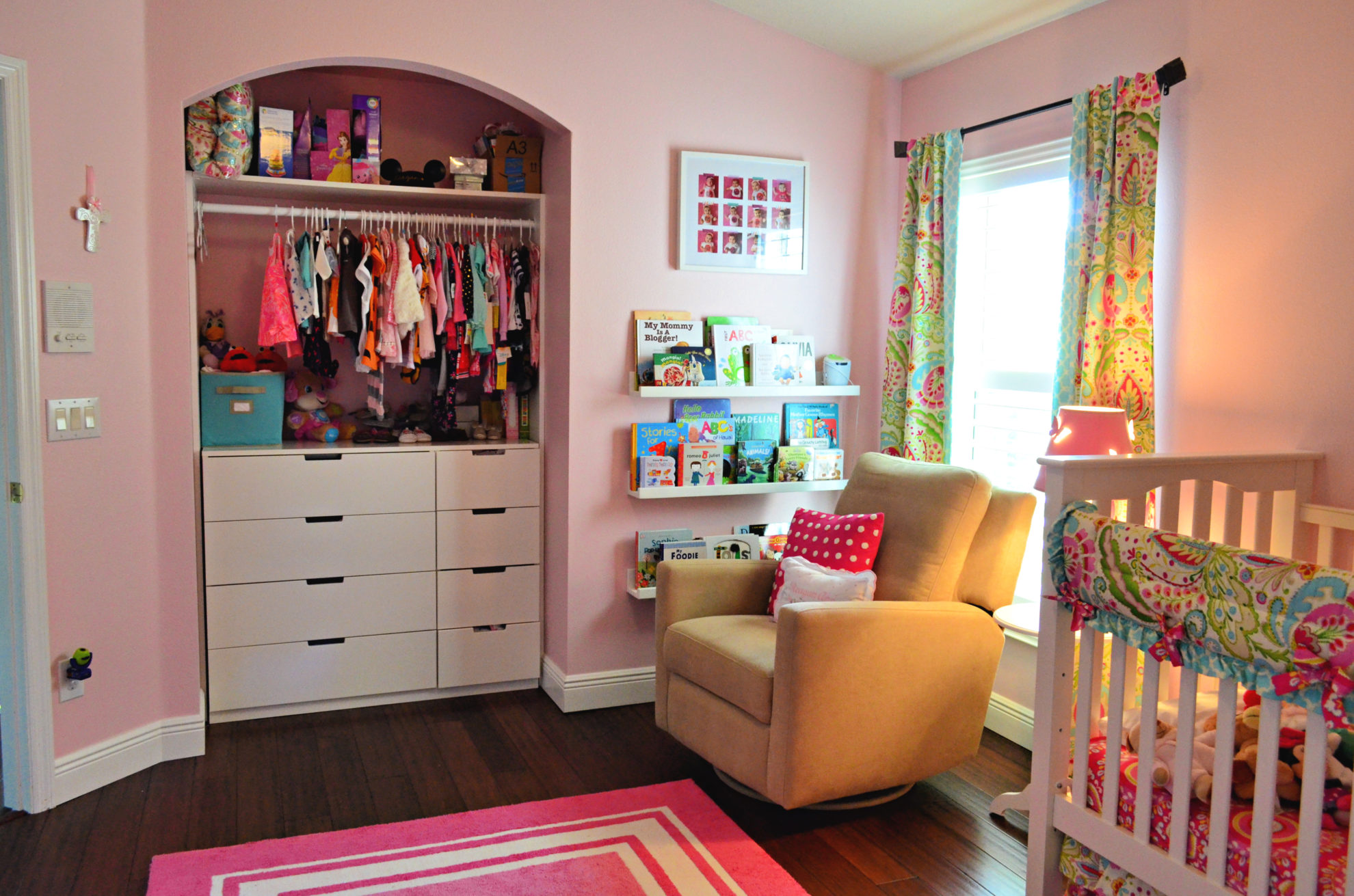 Baby Girl Floral Nursery with Open Closet