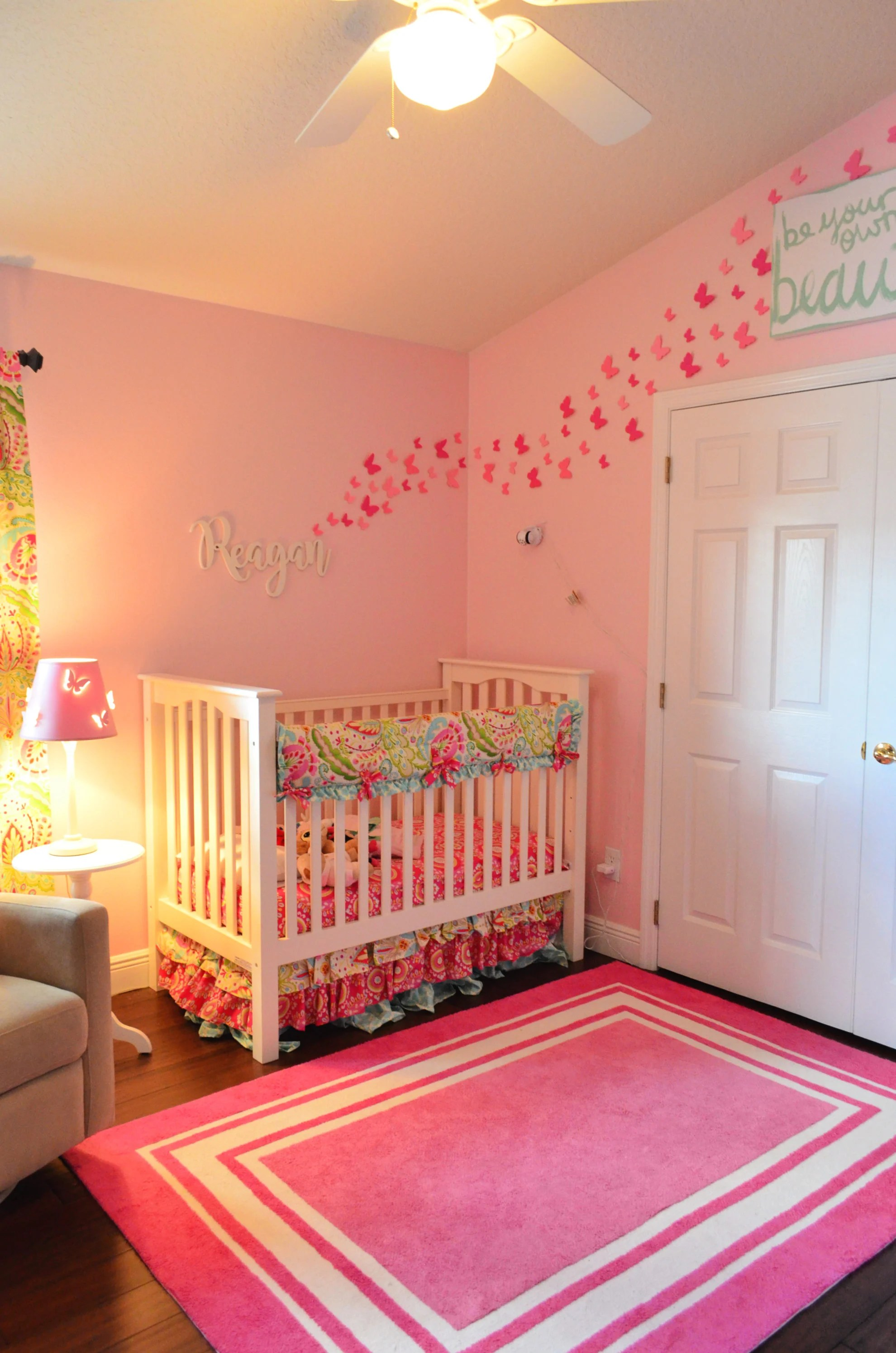 Baby Girl Floral Nursery with butterflies