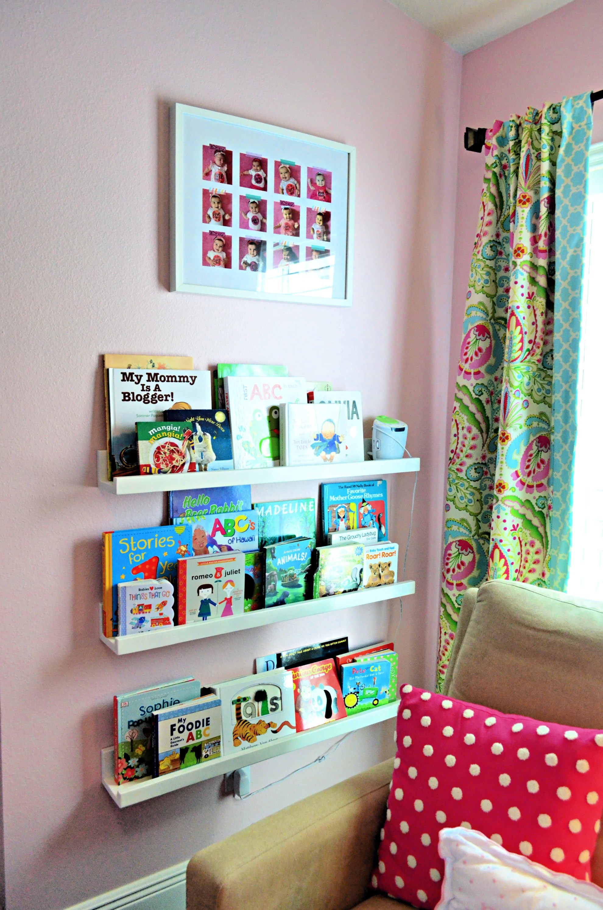 floating bookshelves nursery