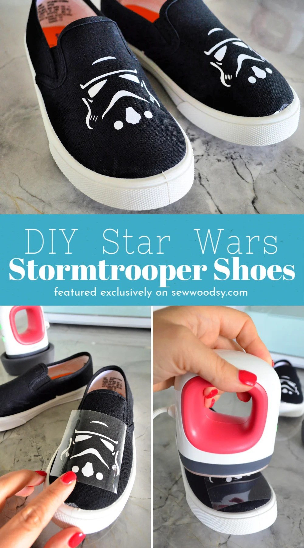 DIY Star Wars Stormtrooper Shoes collage with text