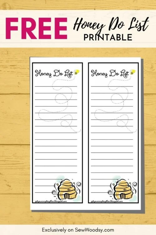 Image of the Free Printable Honey Do List with text