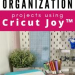 Long pin with bright pink boarders and black text with Cricut Joy and craft supplies.