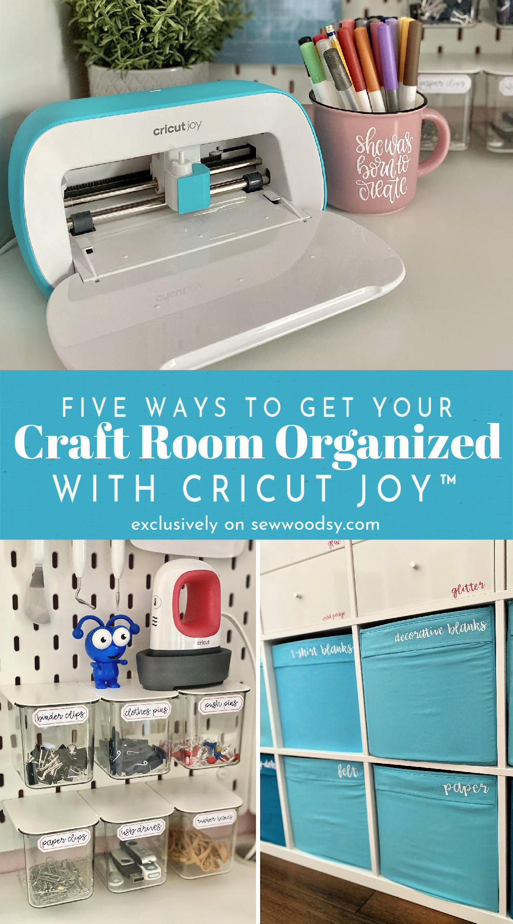 Three photo collage of Cricut Joy and organization projects with text for Pinterest.