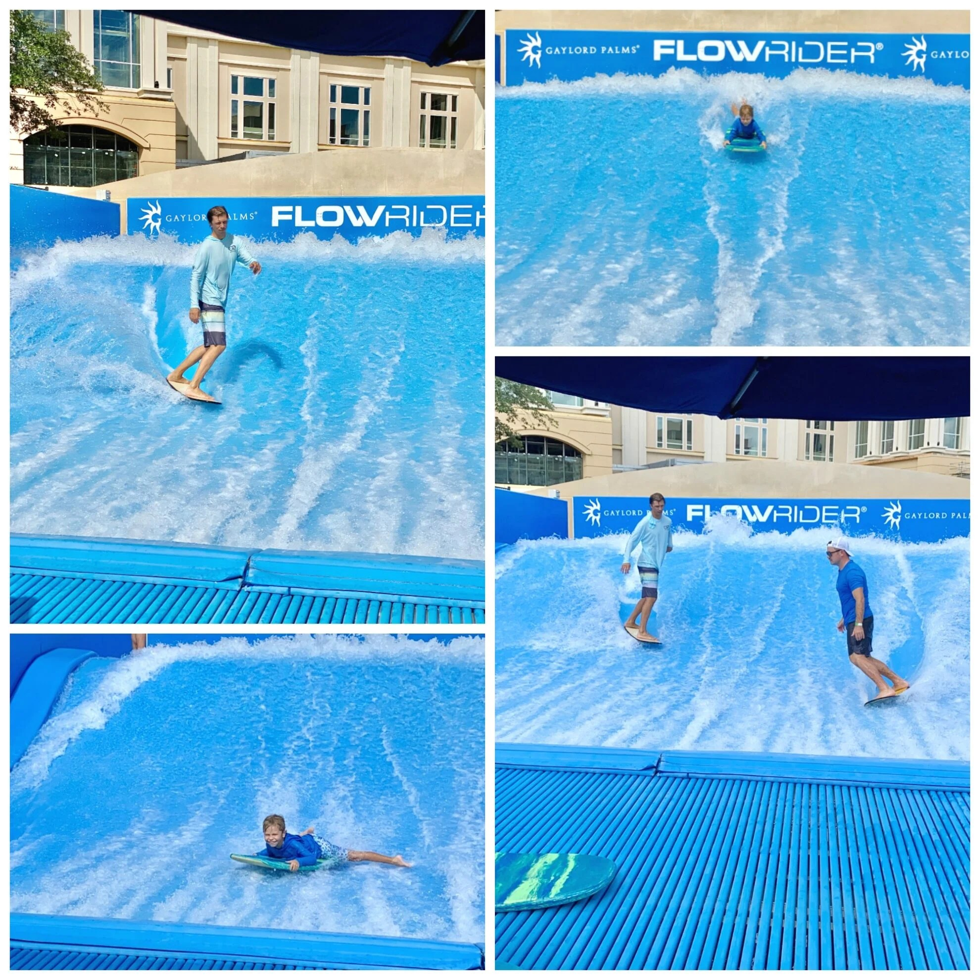 Four photo split of two men surfing on FlowRider and a little boy body boarding.