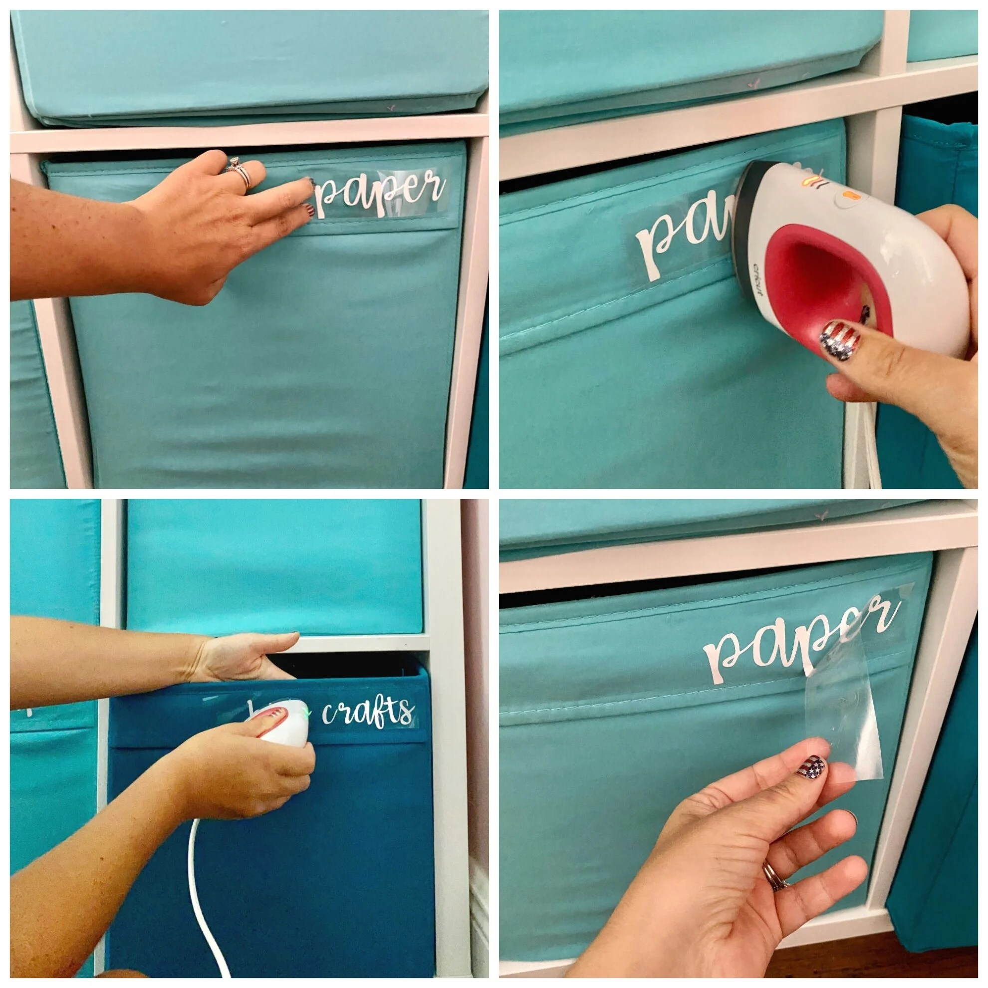 Four process shot of applying Iron-On Vinyl to a blue cloth bin with a Cricut EasyPress Mini.