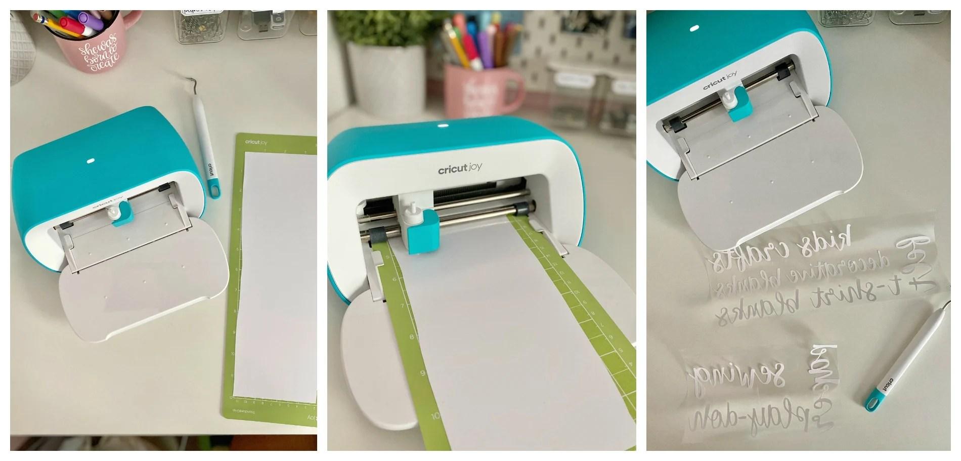Three process photos of Cricut Joy cutting white Iron-On vinyl and weeded negative.