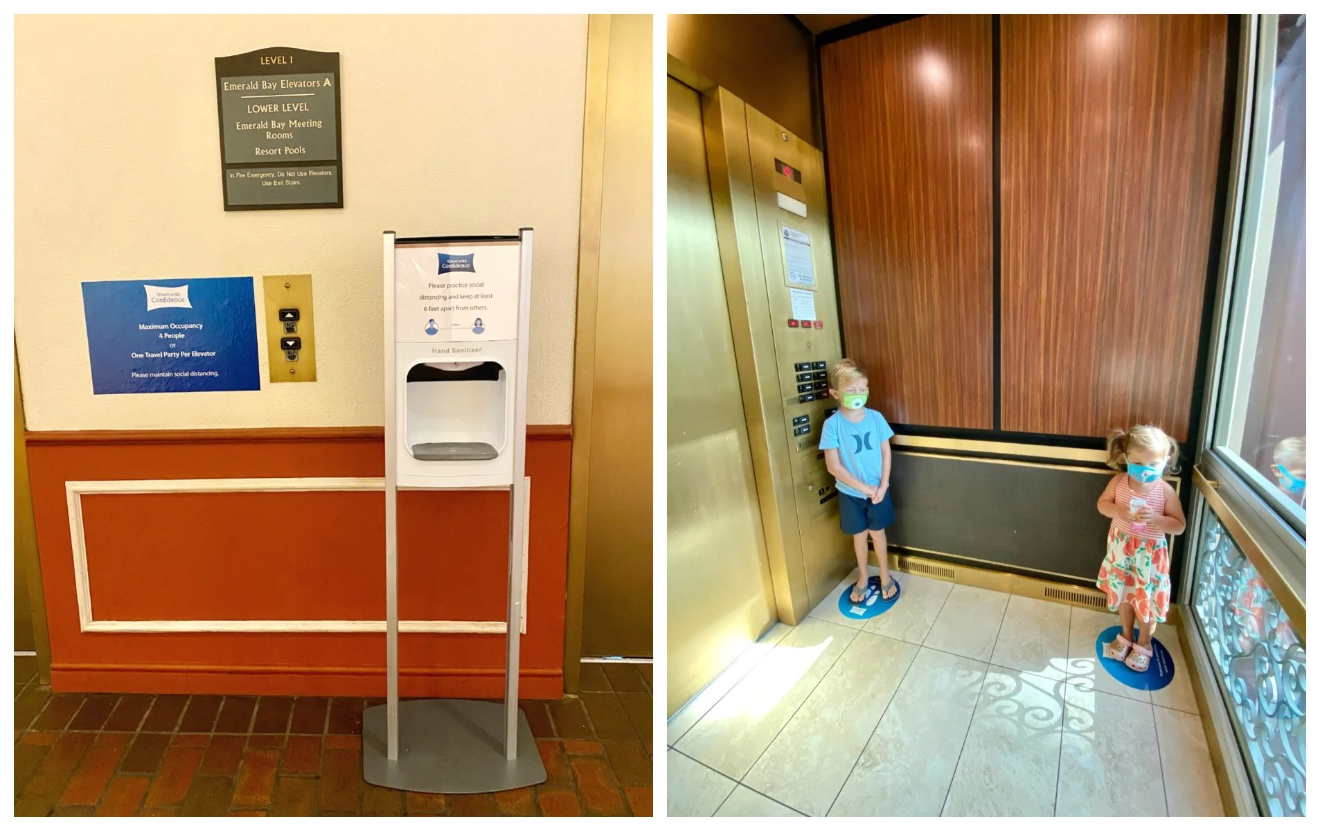 Two photo split of hand sanitizer and kids standing on circles in an elevator.