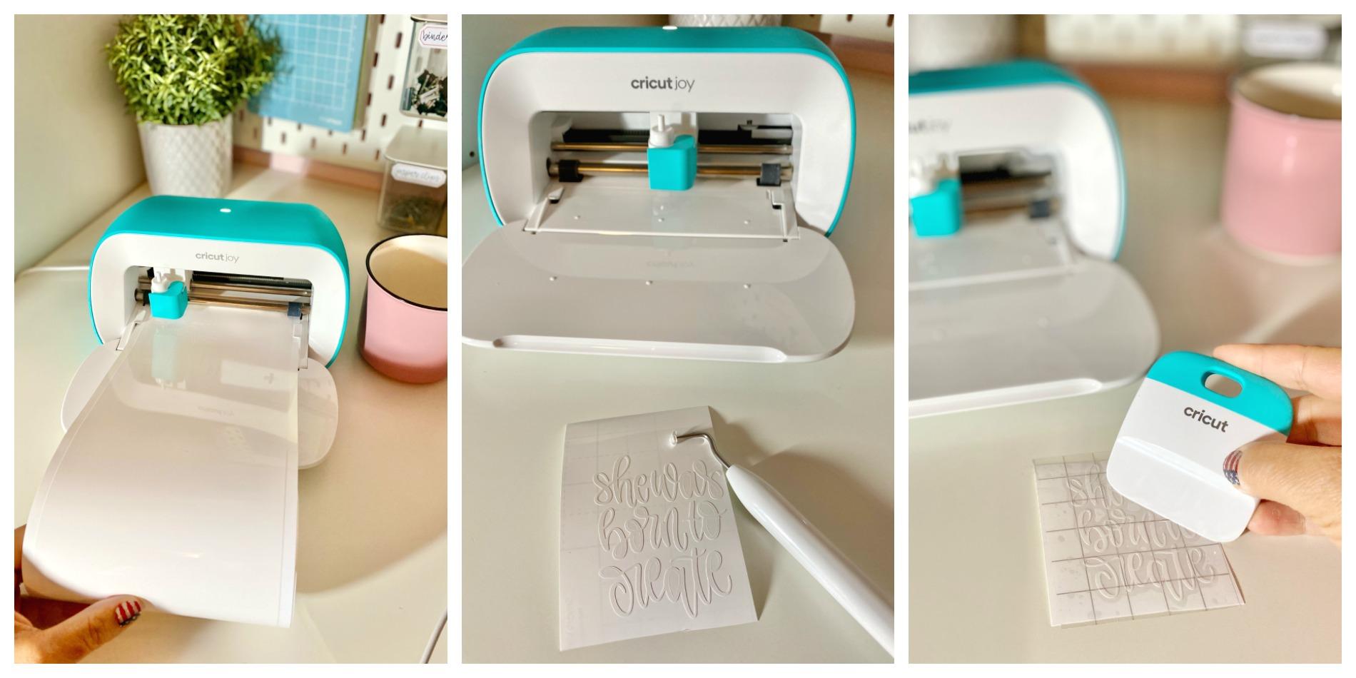 Three shot process photo of Cricut Joy cutting vinyl, wedding negative, and transfer tape.