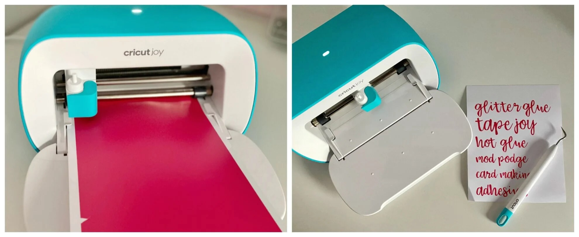 Two photos of Cricut Joy with pink vinyl and cut out vinyl words.