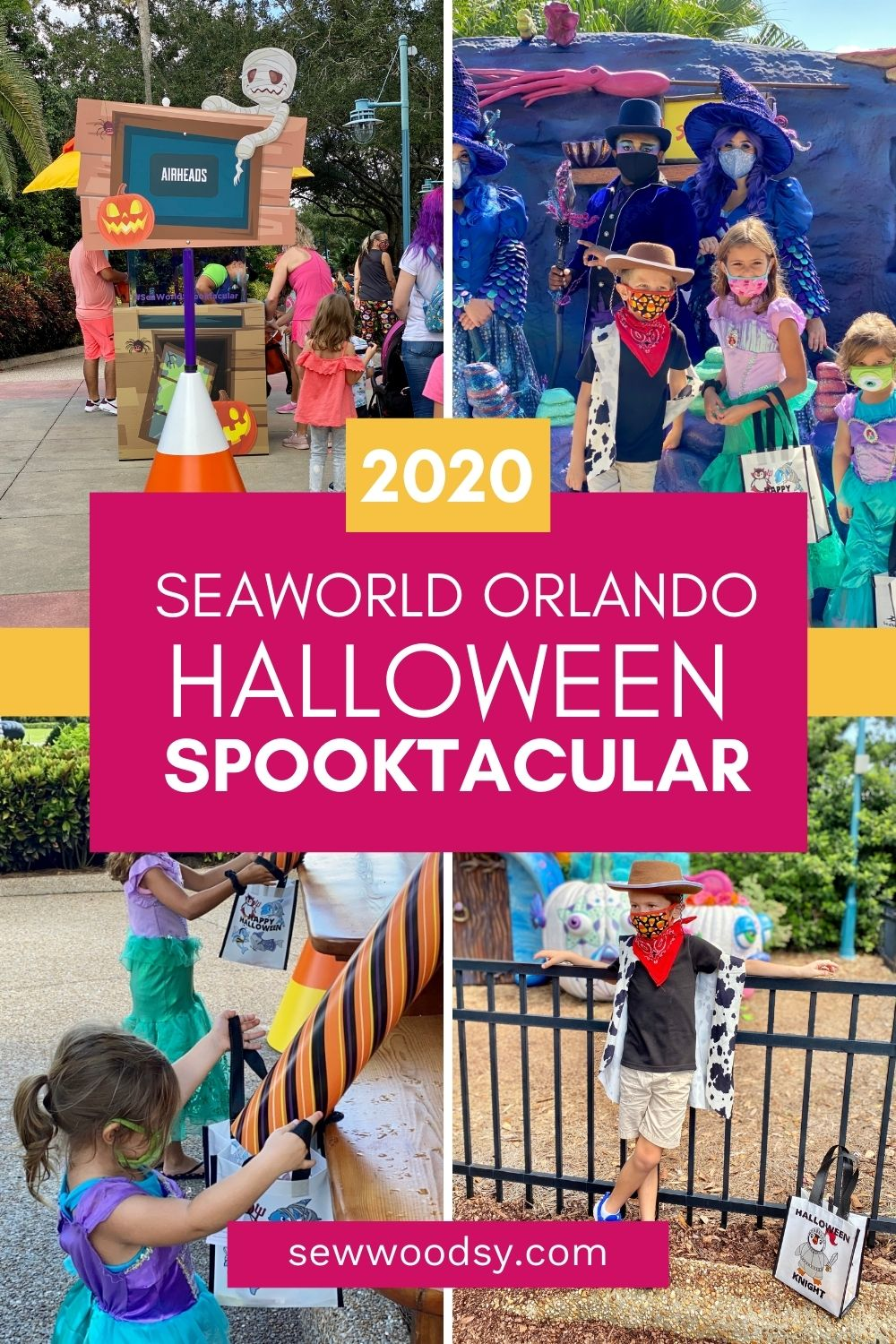 Four photos from SeaWorld Orlando Spooktacular wtih text on image for Pinterest.