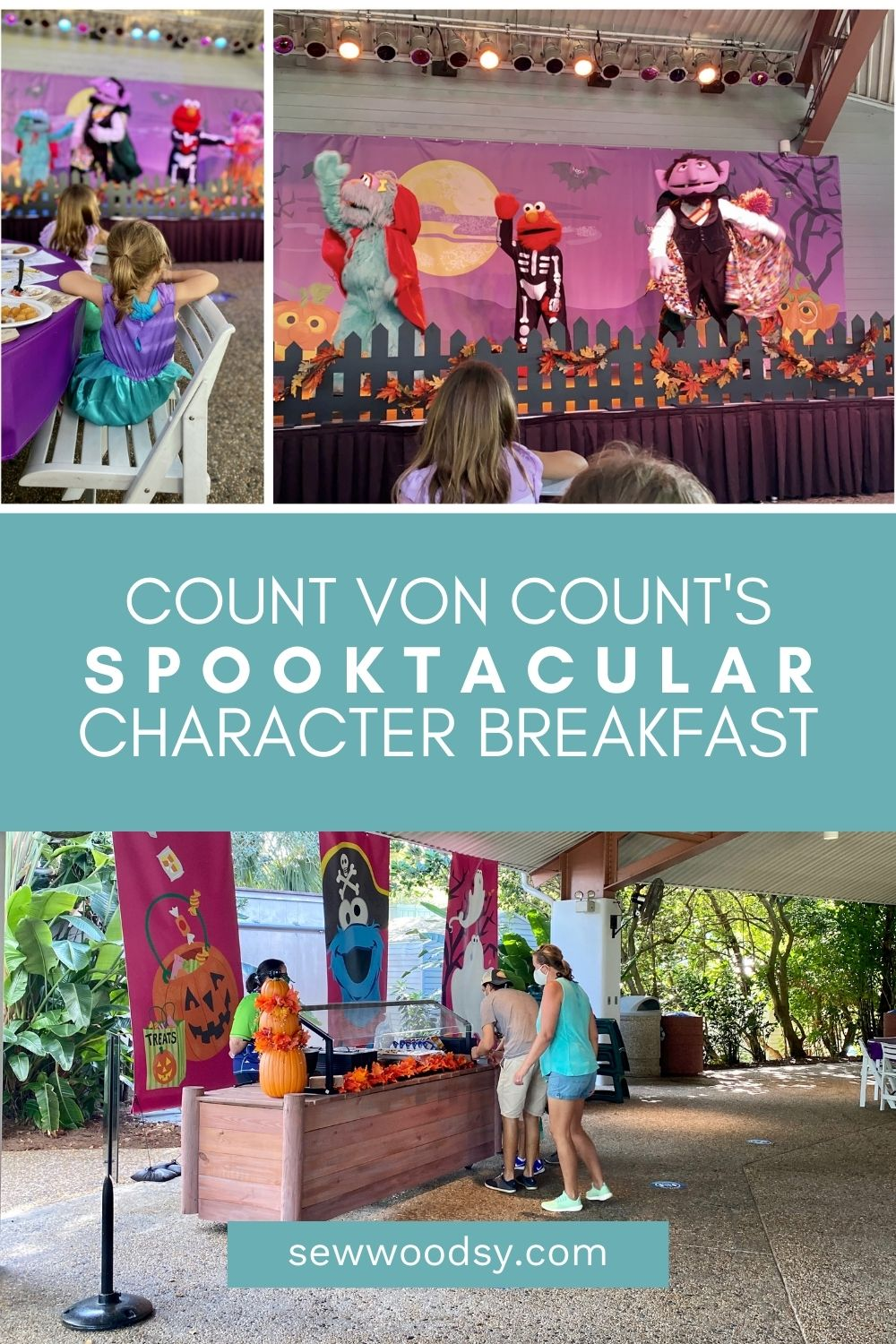 Three images from Count Von Count's character breakfast at SeaWorld.