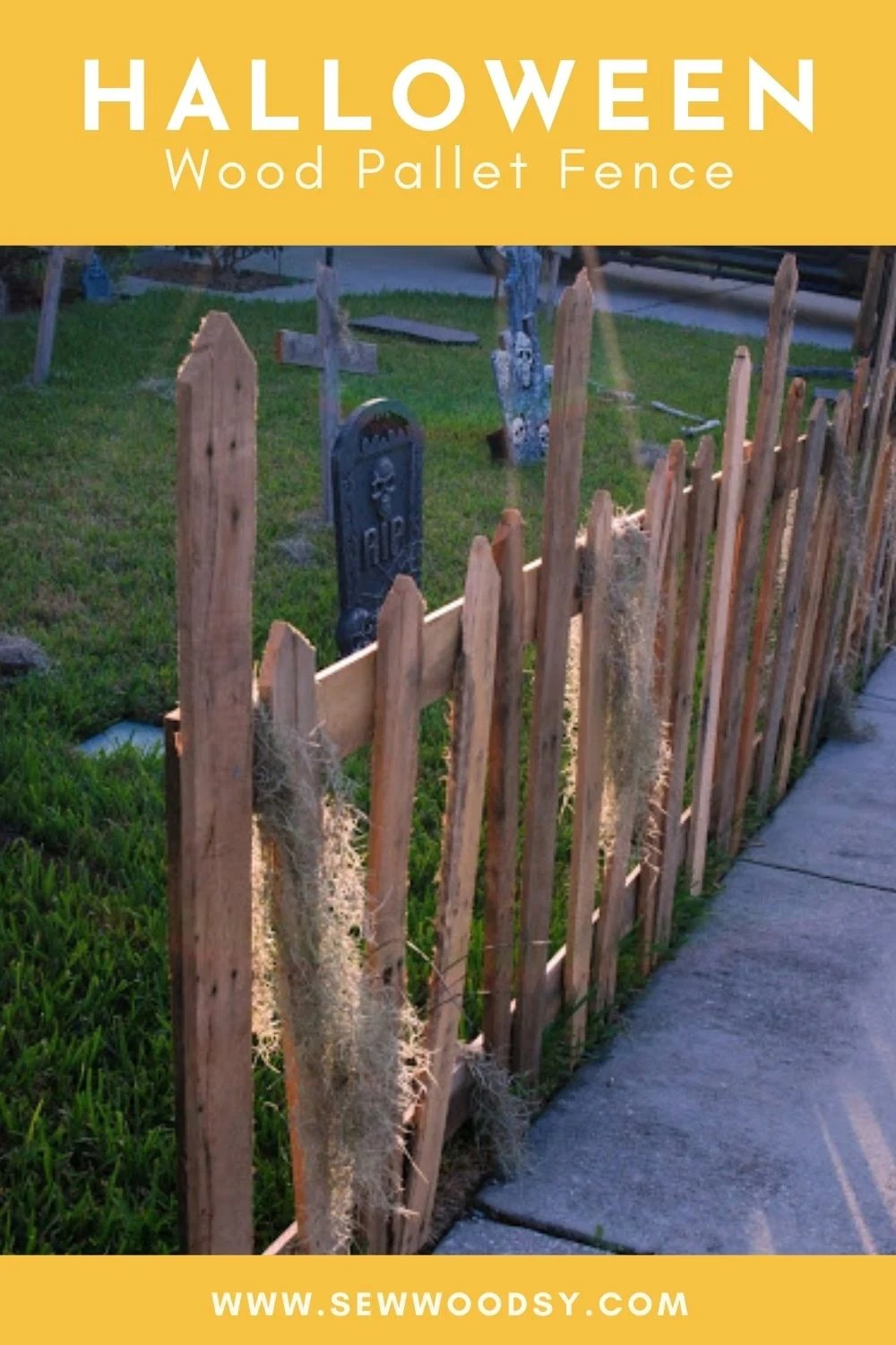 Spikey wood pallet fence with text on image for Pinterest.