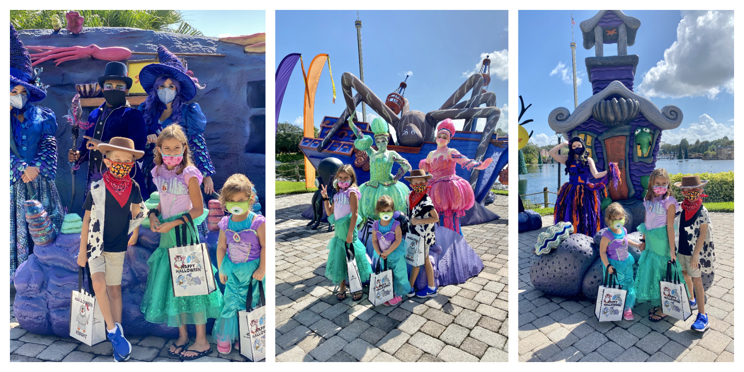 Three photos of three children in costumes posing with Sea Life Characters at SeaWorld.