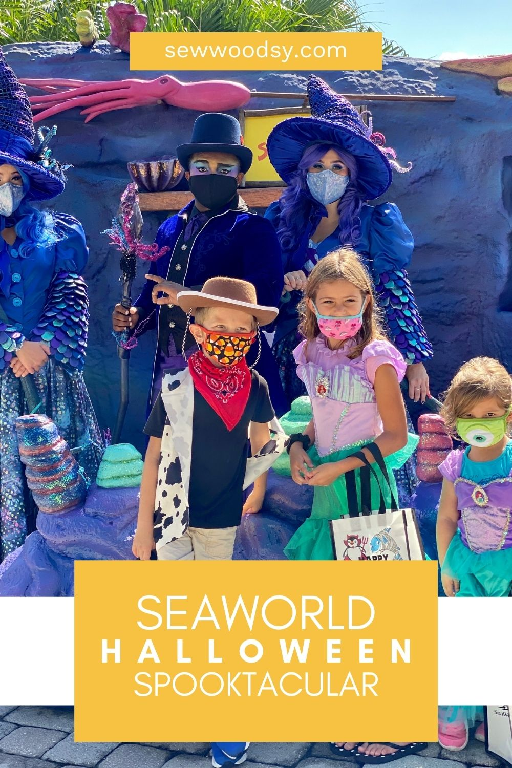 Three children with facemask with characters at SeaWorld for Spooktacular.