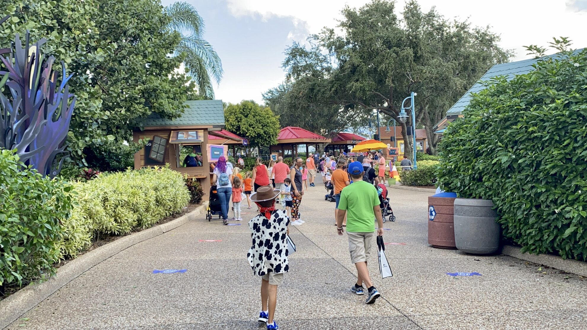 Children walking at a distance at SeaWorld Orlando Spooktacular trick or treating.