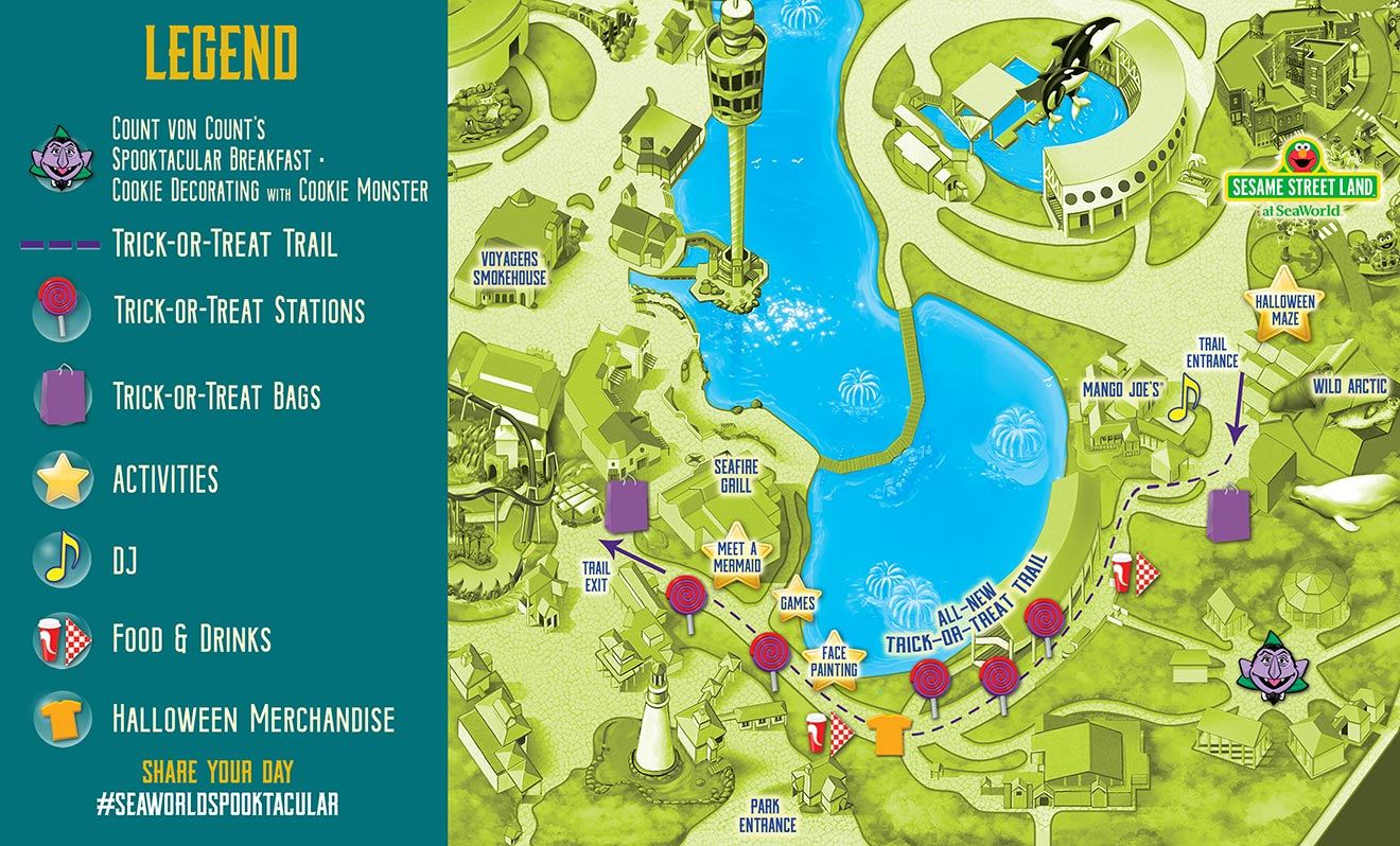 2020 SeaWorld Orlando Spooktacular map of trick or treat stations, trail, activities, etc.