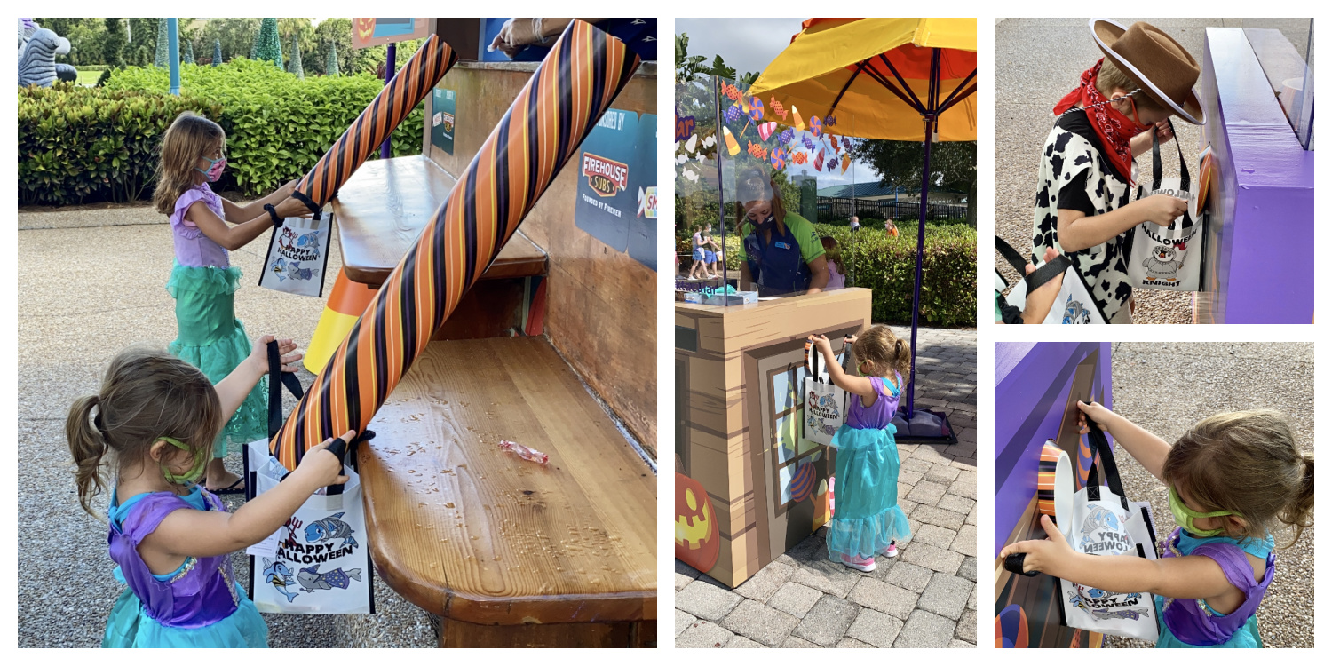 Four photo collage of children in costumes Trick Or Treating at SeaWorld.