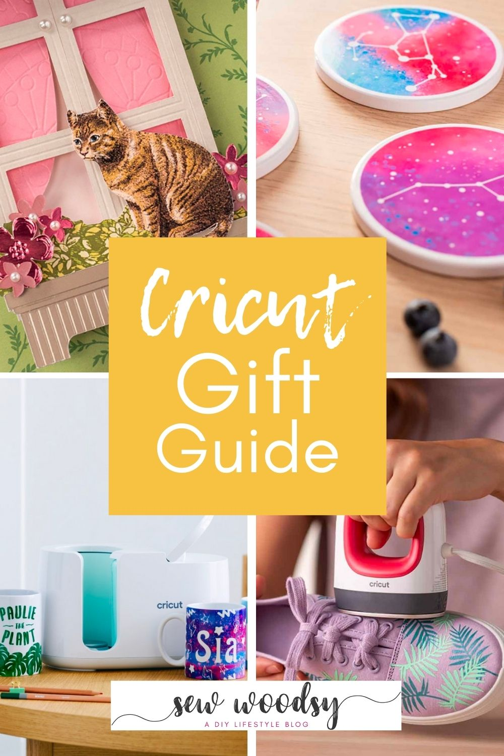 Four Cricut craft projects; card, coasters, mug, and shoes with text on image for Pinterest.