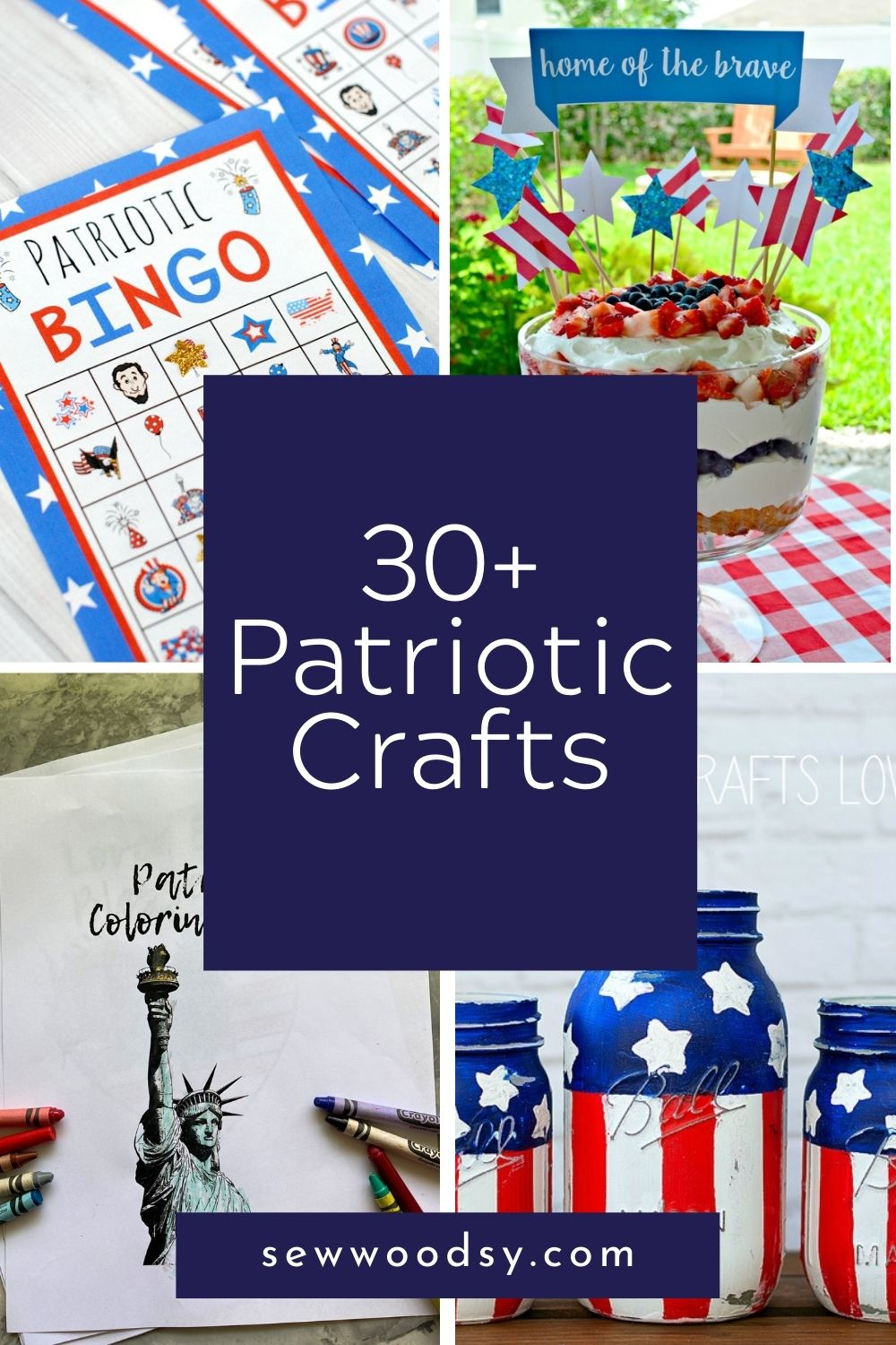 Four photos of Patriotic Crafts; bingo, topper, mason jars, and coloring pages with text on image for Pinterest.