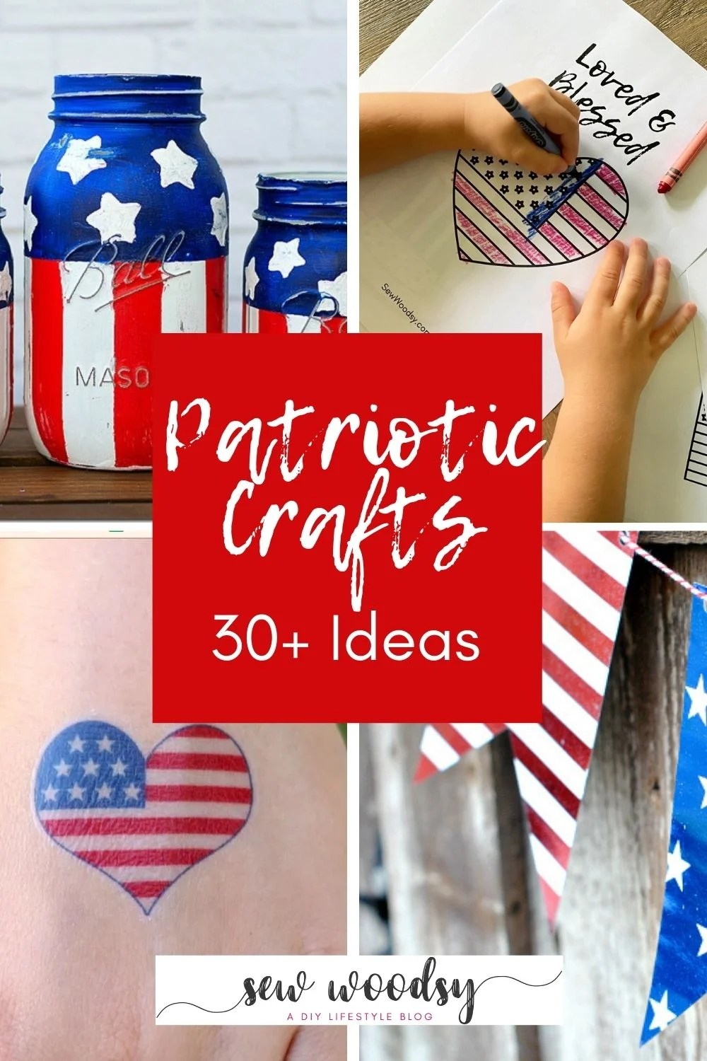 Four photos of various patriotic crafts with post title in the middle for Pinterest.