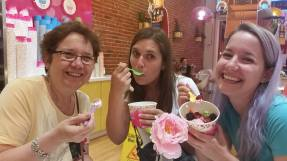 Some Birthday Fro-yo with my daughters.