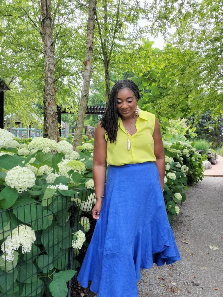 Blue Linen Ruffled Skirt www.sewzaizay.com