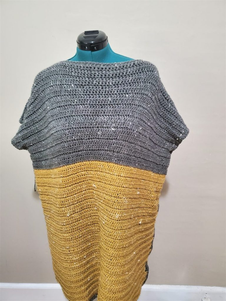 Mustard and gray Crochet Tunic